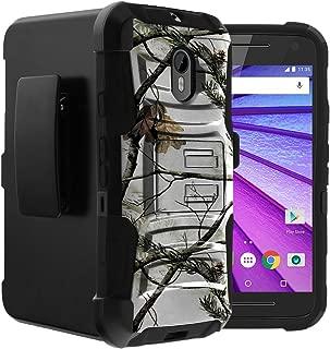 Untouchble Case for Motorola Moto G 3rd Generation | Moto G (2015) Case XT1548 Holster Case [Heavy Duty Clip] Dual Layer Rugged Hybrid Armor [Kickstand] [Swivel Holster] - Snow Hunt Camo