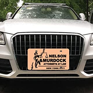 Tian Smile Nelson and Murdock Attorneys at Law Customized Aluminum License Plate Frame Cover Automobile License Plate Cover and Four-Hole Rectangular Silver License Plate 6