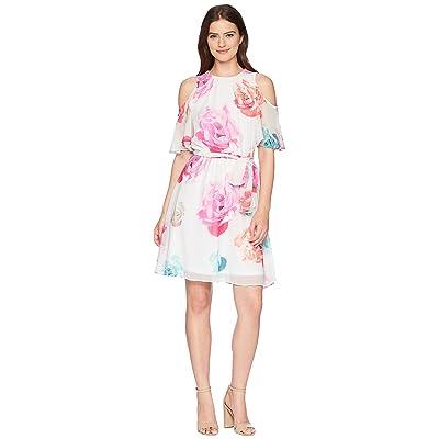Calvin Klein Belted Floral Cold Shoulder Chiffon CD8HA50K (White Multi) Women