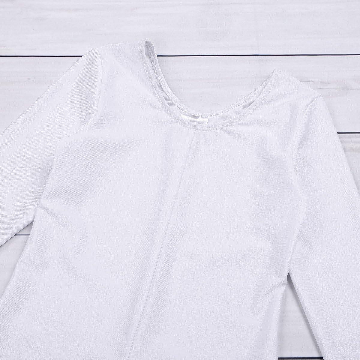 iixpin Kids Girls Ballet Dance Full Length Gymnastics Jumpsuit Long Sleeves Unitard Bodysuit Dancewear