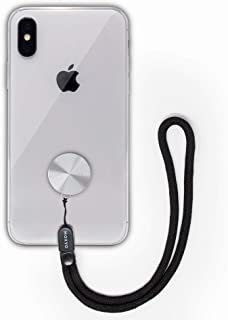 MOXYO - Zigi Band - Universal Cell Phone Lanyard and Wrist Strap, Works with All Smartphones and Tablets Including iPhone and Galaxy & Most Cases (Silver Anodized w/Black Lanyard)