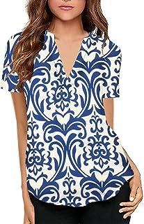 KISSMODA Women's Loose V Neck Sweatshirts Long Sleeve Stripe Pattern Sweater Blouse Tops