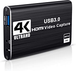 DIWUER Audio Video Capture Card, 4K HDMI to USB 3.0 Capture Card 1080P 60fps Live Streaming Game Recorder Device for PS4, ...