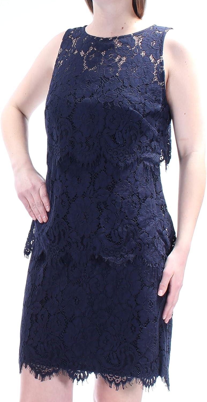 Lauren Ralph Lauren Women's Tiered Lace Sheath Dress (4, Lighthouse Navy)