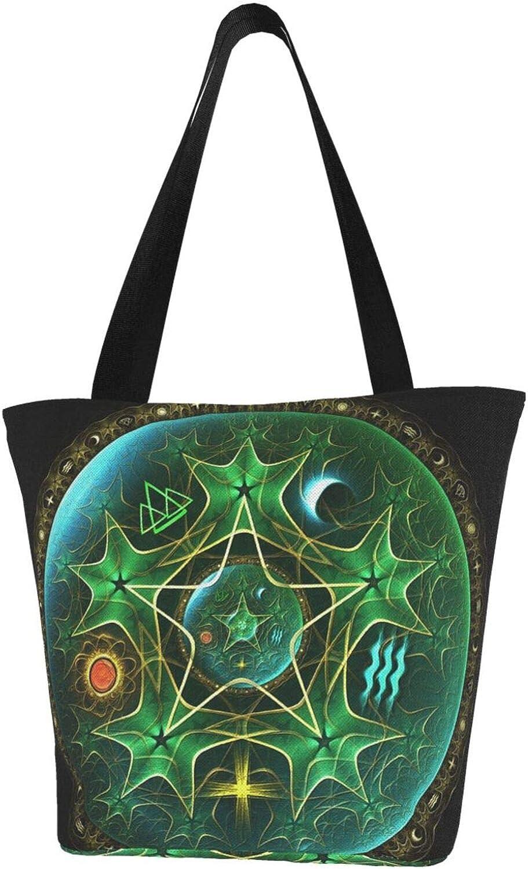 Wicca Wiccan Star Pentagram Leaves Themed Printed Women Canvas Handbag Zipper Shoulder Bag Work Booksbag Tote Purse Leisure Hobo Bag For Shopping