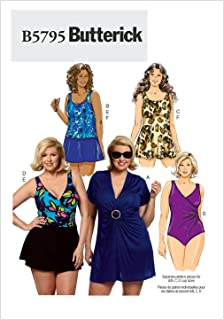 Butterick Patterns B5795 Women's Cover-Up Top Sewing Pattern, Swimdress, Swimsuit, Skirt and Briefs, Size RR (18W-20W-22W-24W)