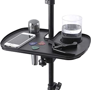 Auhafaly Microphone Stand Tray Stage Concert Performance Vocal Guitar Accessory with Drink Holder and Microphone Holder