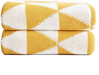 BATTILO HOME 100% Cotton Throw-Style Coverlet Blanket with Geometric Triangle Pattern - Soft, Breathable for Cool and Warm Nights (Yellow&White, 51