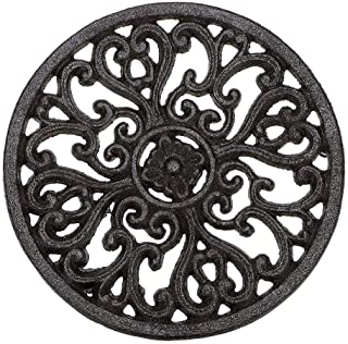 """Sumnacon 6.7"""" Cast Iron Trivet, Decorative Round Trivet Mat Hot Pot Holder Pads with Vintage Pattern and Rubber Pegs/Feet ..."""