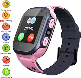 Kids Smartwatch Phone with Position Tracker, Boys Girls Touch Screen Watch with 2 Way Call Voice Chat One Key SOS Camera Math Game Alarm Clock Wristband Birthday Gift for Childrens Back to School