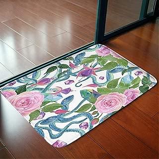 Bathroom WC Home Decor Rug Bedroom Floor Mats Door Mat Indoor Rugs,Watercolor Painting Seamless Pattern Snakes,Living Room Carpets