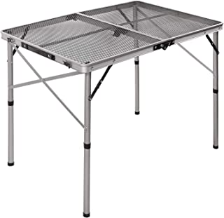 REDCAMP Aluminum Folding Grill Table for Camping, Adjustable Height Lightweight Portable Outdoor Grill Stand Table for Outside Picnic BBQ Beach, Black
