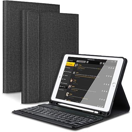 Feelkaeu iPad 9.7 Funda de Teclado Bluetooth con Portalápices, para iPad 2018 (6th Gen) iPad 2017 (5th Gen) iPad Pro 9.7 iPad Air 2 1 Teclado ...