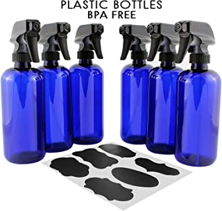 16oz Cobalt Blue PLASTIC Spray Bottles w/ Heavy Duty Mist & Stream Sprayers and Chalkboard Labels (6-pack); PET #1 BPA-free, Use for Aromatherapy, DIY Cleaning, Kitchen, Hair Etc
