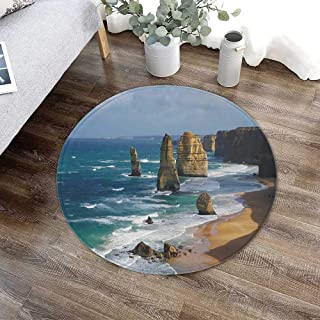 TecBillion Coastal Decor Water Uptake Round Mat,12 Apostles in Australia Rock Face Lookout by The Sea Sightseeing Panoramic Picture for Restroom Balcony,23.62