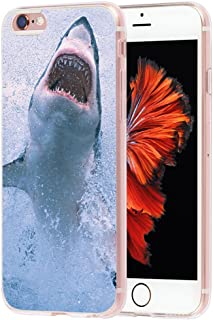 Case for Phone 6S Animal & Cover for 6S & MUQR Flexible Gel Silicone Slim Drop Proof Protection Cover Compatible with iPhone 6/6S & A Terrible Great White Shark