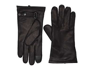 AllSaints Yield Grain Leather Gloves (Black) Extreme Cold Weather Gloves