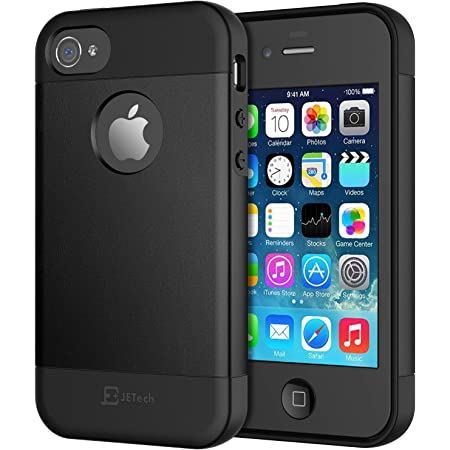 JETech Coque Compatible avec iPhone 4s et iPhone 4, Shock-Absorption et Anti-Rayures, Noir