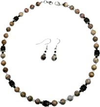 Petrified wood sparkling necklace and earrings jewelry set. Natural fossil wood gemstones and Swarovski crystals beaded necklace and sterling silver earrings. Gift from Washington State