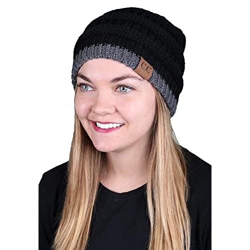 ee563fcae2d Funky Junque Solid Ribbed Beanie Slouchy Soft Stretch Cable Knit Warm Skull  Cap