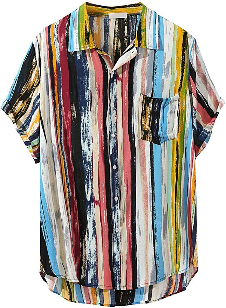 Hawaii Shirt for Men Collar Casual Shirts V Neck Multi Color Lump Chest with Pocket Regular Fit Beachwear