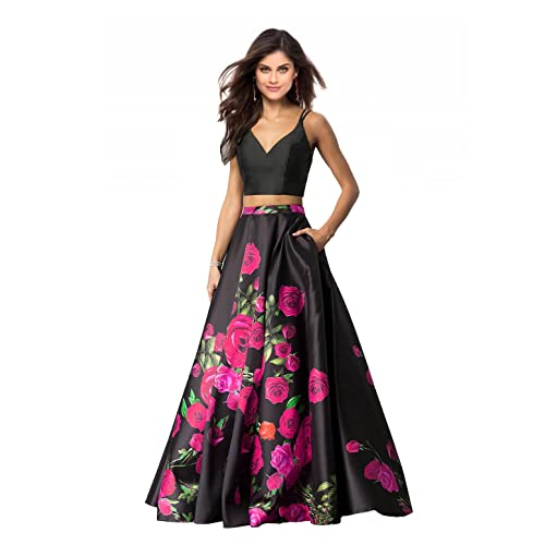 792a07fe766 Lily Wedding Womens 2 Piece Floral Printed Prom Dresses 2019 Long Formal  Evening Ball Gowns with