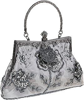 Prettyia Women Embroidery Clutch Bag Shoulder Bag Evening Bag Bridal Wedding Handbag