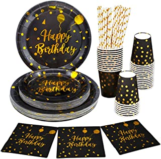 125 PCS Black and Gold Party Supplies Birthday Party Plates and Cups and Napkins Serves 25 Gold Disposable Dinnerware Sets...