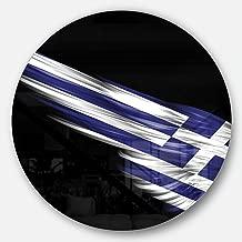 "Designart MT8920-C23 ""Wing with Greece Flag Digital Art Round"" Wall Art, 23"" x 23"", Blue/White"