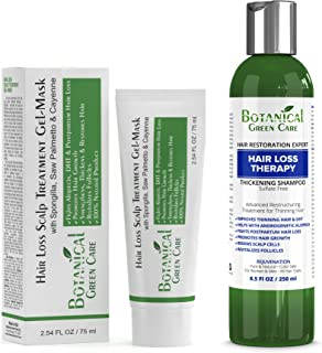 Hair Loss Therapy Shampoo & Scalp Treatment Mask Value Set (2 items) - Saw Palmetto Hair Growth For Hair Thinning Prevention Alopecia DHT Blocking. Doctor Developed