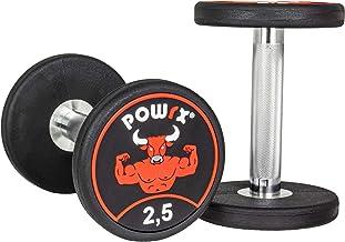 POWRX Professional Ronde Dumbbell Set van 2 incl. Workout I Rubber Dumbbell Coating SENSITIVE 2,5-30 kg I Verchroomd en ge...