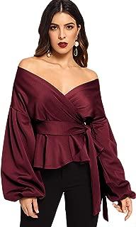 Women's Long Sleeve V Neck Ruffle Blouse Off Shoulder Tie Waist Wrap Tops