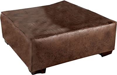 Benjara, Brown Button Tufted Leatherette Wooden Ottoman with Block Legs