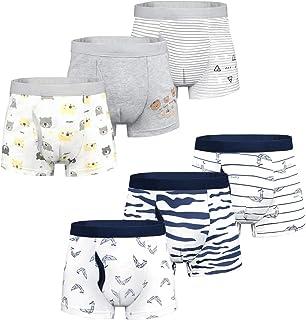 Yoofoss Calzoncillos Bóxer de algodón para Niños Paquete de 6 Pantalones Cortos Ropa Interior Bóxers Ropa Interior Algodón...