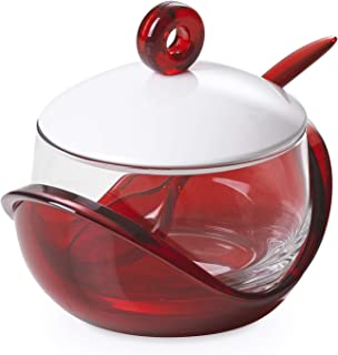 Cheese or sugar bowl with transparent glass container, base, lid and plastic spoon Red, ergonomic and innovative design, Trendy line by Omadadesign