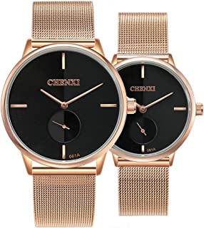 Sponsored Ad - Couple Watch Men and Women Pair Quartz Watches Casual Stainless Steel Mesh Strap Fashion Watches (Black)