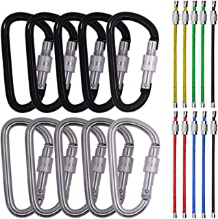 """SourceTon 3"""" 10 Pack D Shape Spring-Loaded Strong and Lightweight Large Carabiners Clip Set, Outdoor Camping Screw Gate Lo..."""