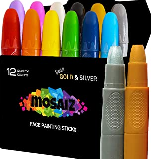 Face Paint Crayon 12 Colors with Gold and Silver Face Painting Sticks for Kids Washable Twistable Crayons Kit for Kids Face Hair Body Paint Water Based Set Halloween Makeup Marker
