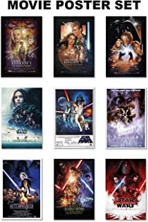 Star Wars: Episode I, II, III, IV, V, VI, VII, VIII & Rogue One - Movie Poster Set (9 Individual Full Size Movie Posters - Version 2) (Size: 24 inches x 36 inches Each)