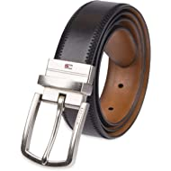 Tommy Hilfiger Reversible Leather Belt - Casual for Mens Jeans with Double Sided Strap and Silver...