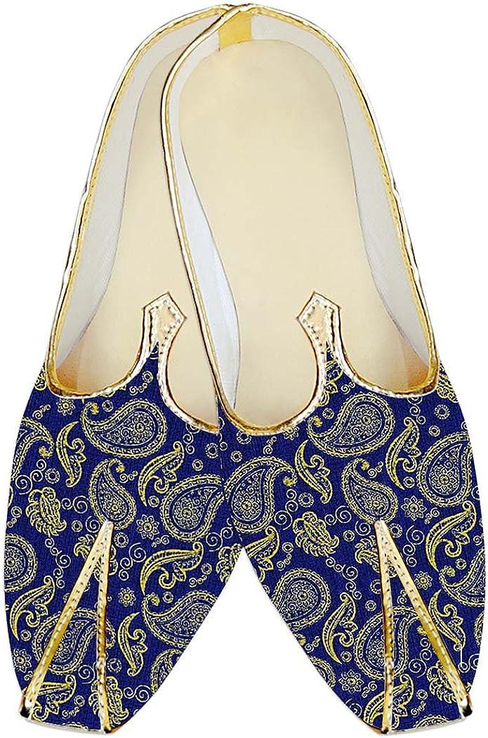 INMONARCH Indian MensShoes Royal Blue Jute Silk Wedding Shoes Paisley Design MJP18320