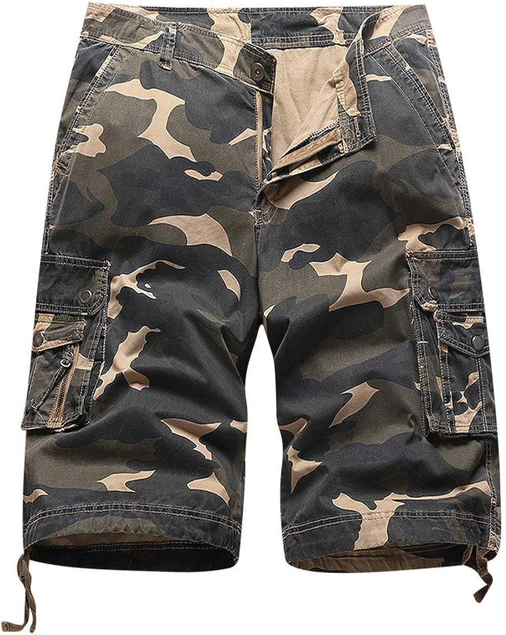 Raroauf Men's Casual Camo Multi-Pockets Military Cargo Shorts