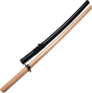 E-BOGU Wooden Katana Samurai Training Sword Comes with Saya Scabbard and Tsuba Handguard (Natural)