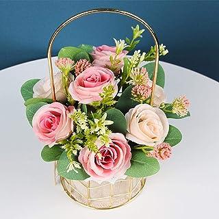 Panier à fleurs en métal à la main, panier à fleurs à la main, vase Vintage fleurs en soie artificielle corde tressée pani...