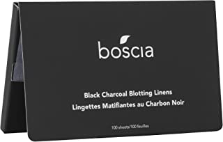 boscia Black Charcoal Blotting Linens – Oil-Absorbing Bamboo Charcoal, 100 Sheets
