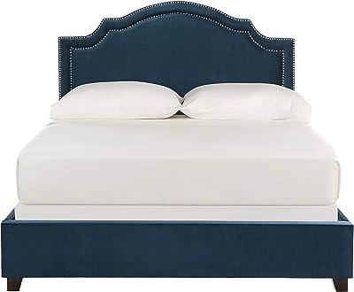 Safavieh Home Collection Theron Navy Velvet Nickel Nailhead Trim Queen Bed