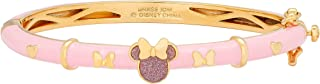 Disney Minnie Mouse Jewelry for Women and Girls, Yellow Gold Plated Pink Enamel and Glitter Bangle Mickey's 90th Birthday Anniversary