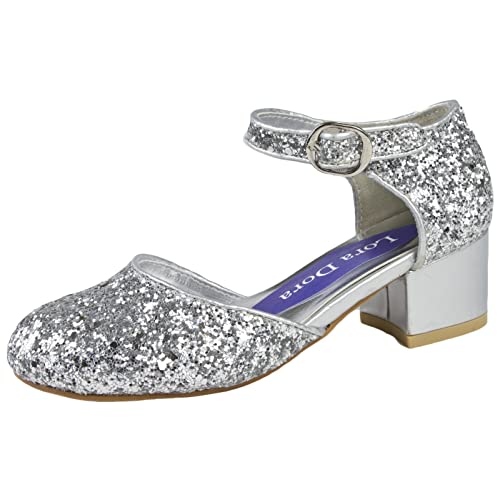 374742ffca2 Lora Dora Girls Faux Leather Low Block Heel Party Shoes Mary Jane Kids  Wedding Prom Size