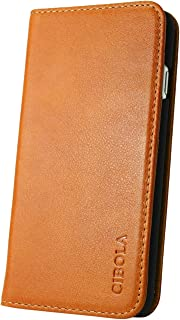 CIBOLA iPhone 5 iPhone 5s iPhone SE Case, Genuine Leather Wallet Case Design with Flip Book Cover and Credit Card Slot Magnetic Closure for iPhone 5 / 5s / SE (Brown, iPhone SE/iPhone 5s / iPhone 5)