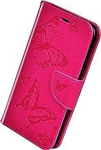 Herbests Compatible con Huawei Honor 7A Funda, Flip Case Funda con Tapa Estuche de Cuero Cartera en Relieve Mariposa con Cierre Magnético Soporte Plegable Color Puro Cover,Rose Roja